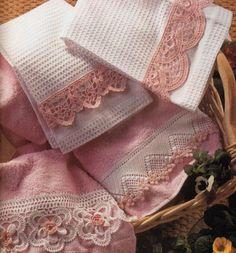 Crochet Knitting Artesanato: Esquemas bela toalha de crochê guarnição