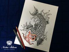 Título: Koi Técnica:  estilógrafos y lápices de colores Tamaño: 22.9 x 30 cm Material: Papel blanco