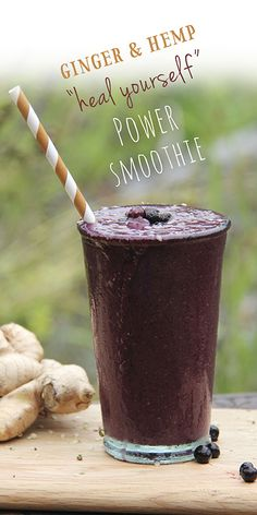 A powerful healing, anti-inflammatory smoothie with fresh ginger, hemp seeds and blueberries.