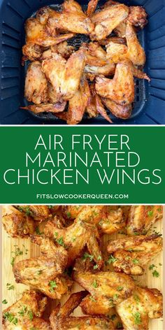 Air Fryer Wings With A Homemade Marinade Are The Perfect Game-Day Recipe. These Crispy Chicken Wings Are Low-Carb, Paleo, And Marinated Chicken Wings, Crispy Chicken Wings, Chicken Wing Marinade, Best Chicken Wing Recipe, Smoked Chicken Wings, Chicken Wing Recipes, Chicken Thighs, Air Fryer Wings, Air Fryer Chicken Wings