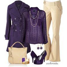 """""""Purple and Beige"""" sub purple booties, tan skinnies, add  purple scarf (mom)"""