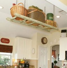 Small Kitchen Organizing Ideas - Suspended Ladder Storage - Click Pic for 42 DIY Kitchen Organization Ideas & Tips