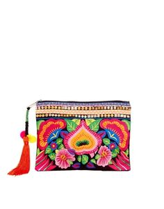 Image 1 ofASOS Bright Floral Embroidered Clutch Bag