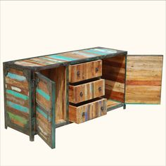 Reclaimed Wood Industrial Multi-Color Iron & Wood Sideboard Buffet