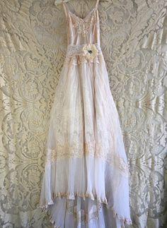 nude & white alencon lace and accordion pleat boho wedding
