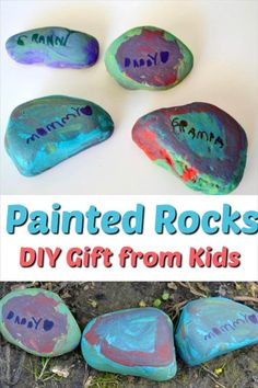 DIY gift that kids can make for mom, dad, grandparents or teachers! Dad Crafts, Diy Mother's Day Crafts, Mother's Day Diy, Rock Crafts, Craft Stick Crafts, Craft Ideas, Homemade Gifts For Mom, Diy Gifts For Mothers, Mothers Day Crafts