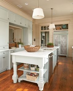 Same kitchen with pale blue cabinets, etc., also love the pendants along with recess lights. - photo Kitchenjeanallsopp002_zps391e59e7.jpg