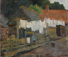 Piet Mondrian ( 1872 – 1944) was een Nederlandse kunst-schilder en kunsttheoreticus, die op latere leeftijd in het buitenland woonde en werkte. Mondriaan wordt algemeen gezien als een pionier van de abstracte en non-figuratieve kunst. Vooral zijn latere geometrisch-abstracte werk, met de kenmerkende horizontale en verticale zwarte lijnen en primaire kleuren, is wereldberoemd. Boerderij met wasgoed aan de lijn