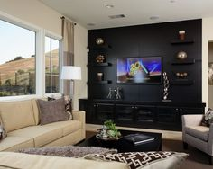 Wall entertainment center ideas full design unit plans media room pictures remodel decor and page kids amusing p Wall Entertainment Center, Entertainment Ideas, Media Room Design, Living Room Tv, Room Pictures, Wall Mounted Tv, Family Room, Interior Design, Decoration