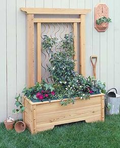 Cedar and Copper trellis Zedern- und Kupfergitter Wood Shop Projects, Diy Garden Projects, Garden Ideas, Cedar Garden, Lawn And Garden, Outdoor Crafts, Outdoor Projects, Outdoor Ideas, Garden Show