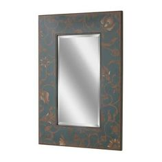 Deco Mirror 36 in. x 24 in. Scandinavian Floral Mirror in Blue Distressed Background with Brown Floral-1150 at The Home Depot - $127