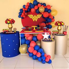5th Birthday Party Ideas, Adult Birthday Party, Sleepover Party, Baby Party, Birthday Party Decorations, Wonder Woman Birthday, Wonder Woman Party, Birthday Woman, Superman Baby Shower