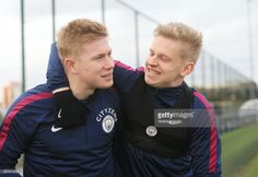 Kevin De Bruyne and Oleksandr Zinchenko reacts during training at Manchester City Football Academy on February 2018 in Manchester, England. Zen, Message For Dad, Stylish Mens Fashion, Football Gif, Manchester City, Manchester England, Super Sport, Celebrity Crush, The Past