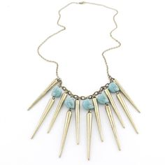 obsessed with spikes! - Cool Gold-tone LONG Bullet and Turquoise Stone