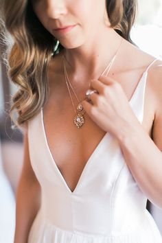 Crystal Drop Necklace with a Plunging Neckline Wedding Dress