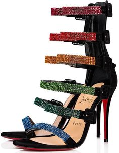 Christian Louboutin United States Official Online Boutique - Raynibo 100 Black/Multicolor Strass available online. Discover more Women Shoes by Christian Louboutin Hot High Heels, High Heel Boots, Heeled Boots, Shoe Boots, Stilettos, Stiletto Heels, Kelly Clarkson, Hot Shoes, Shoes Heels