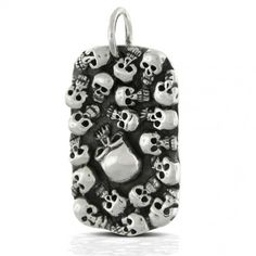 Sterling Silver Multi Skull Mens Dog tag Pendant