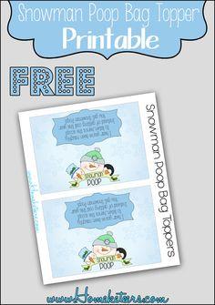 Snowman Poop Bag Topper ~ FREE Printable