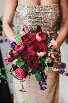 Winter wedding bouquet idea - romantic red roses with purple + pink flowers {LVL Weddings & Events} Bouquet Bride, Red Bouquet Wedding, Bridesmaid Bouquet, Purple Wedding, Wedding Flowers, Dream Wedding, Bridesmaids, Rustic Wedding Centerpieces, Wedding Decorations