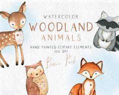 Forest Animals, Woodland Animals, Woodland Baby, Woodland Creatures, Woodland Nursery, Photoshop Elements, Scrapbook, Animals Watercolor, Owl
