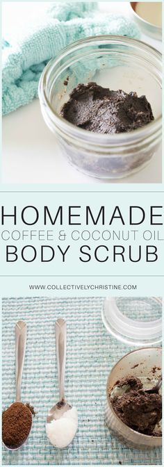 Homemade Coffee and Coconut oil body and facial scrub. Brightening, antibacterial, and softening. #coffeescrub