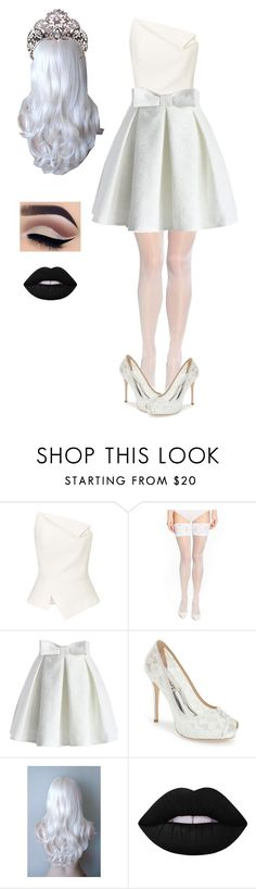 """White queen"" by skb5475 ❤ liked on Polyvore featuring Roland Mouret, Wolford, Chicwish, Badgley Mischka and Lime Crime"