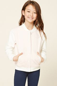 """Forever 21 Girls - A knit varsity jacket featuring a """"Mermaid Crew"""" graphic on the back, snap-button front, ribbed trim, a fleece lining, contrast long sleeves, and two front slanted pockets."""