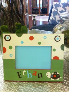 hand painted personalized turtle 4 x 6 picture frame