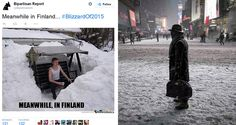 Meanwhile in #Finland Suomi-meemi (left) comments New Yorkin climate (right). At the end of January, people are starting to look for their bbq grills... Waiting for the first snowless spot... =)