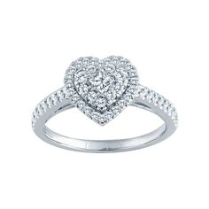 Styled with breathtaking elegance, this stunning 5/8 ct. t.w. engagement ring features a single princess-cut center stone set at an angle and surrounded by a heart-shaped double halo of sparkling round side stones.