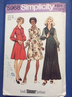 Inspected Vintaged Used Sewing Patterns Simplicity 5968 Dress Gown Size 14  | eBay