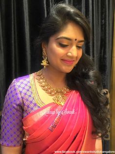 Our client Ganavi is all dolled up for her sister's wedding. Makeup and hairstyle by Swank Studio. Silk Saree. Gold jewellery. Statement necklace. Saree blouse design. Hairstyle. Pink Lips. Find us https://www.facebook.com/SwankStudioBangalore