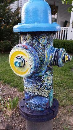 Fire hydrant art. Fire Hydrants, Fire Equipment, Water Colors, City Art, Crafty Craft, Fire Department, Creative Gifts, Urban Art, Barns
