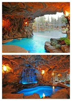 Outdoor pool complete with a hidden grotto!