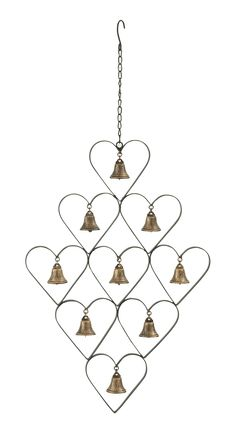Jingle Bells String of Hanging Cow Bells Red Iron Fair Trade Home 56cm New