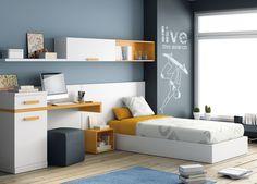 """Habitación juvenil del catálogo de mueble juvenil """"Kids Up2"""" de Muebles Ros."""