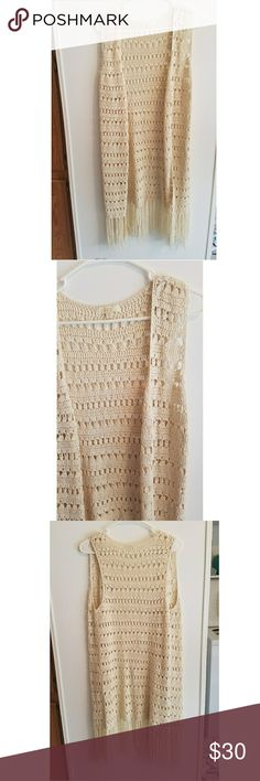NWOT Crochet Fringe Vest This is a great accessory for spring or fall! Jackets & Coats Vests
