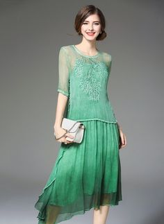 Seide Andere Halbe Sleeve Midi Lässige Kleidung Kleider (1013789) @ floryday.com
