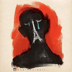 https://flic.kr/p/Aa4FEc | Another poignant work in the wake of the tragedies in Paris by Tehran-based cartoonist @hadi_heidari.