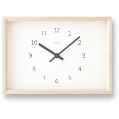 Kaede Clock in White design by Lemnos ($120) ❤ liked on Polyvore featuring home, home decor, clocks, extras, filler, wooden clock, white home decor, wood clock, wooden home decor and white home accessories