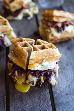 Mashed Potato Waffle, Crispy Turkey, Smashed Avocado, Cranberry and Brie Melts #Thanksgiving #leftovers