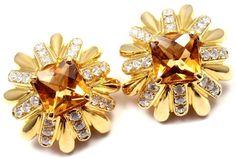 Cartier Aldo Cipullo 18K Yellow Gold Diamond Citrine Earrings