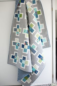 This fun and modern quilt pattern puts a different spin on a basic plus quilt. Simple piecing makes this a great beginner quilt, and it's precut-friendly. Finished size: baby x throw x queen x Modern Quilt Patterns, Quilt Block Patterns, Pattern Blocks, Quilt Blocks, Quilt Modern, Boy Quilts, Scrappy Quilts, Quilting Tutorials, Quilting Designs