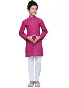 Purple Kids Cotton Kurta Set