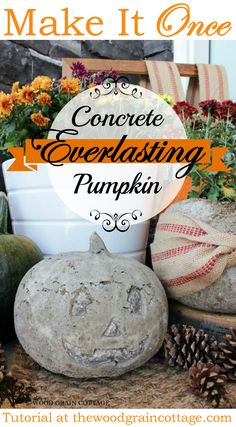 Diy Concrete Cement Pumpkin! Patio and Porch Perfect, Lasts forever. Tutorial at @woodgraincottge | Fall Autumn Halloween Decorating Idea
