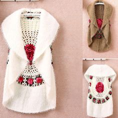 2015 New Fashion High Quality Autumn Winter women's crochet cape vest sweater…