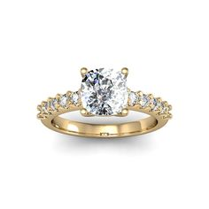 14k Yellow Gold 1 7/8ct TDW Traditional Diamond Engagement Ring with 1 1/2ct Center Cushion-cut Cent (Size 7), Women's, White H-I (solid)