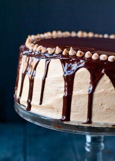 Four Layer Chocolate Peanut Butter Brownie Cake | Neighborfoodblog.com @Courtney | Neighborfoodie