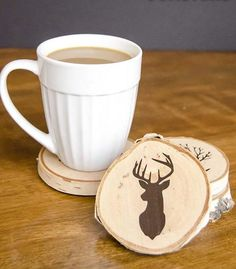 Rustic Lodge DIY Coasters | For the outdoorsy Dad!