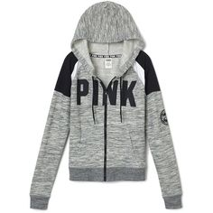 PINK Perfect Full Zip Hoodie ($55) ❤ liked on Polyvore featuring tops and hoodies